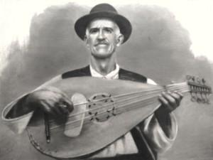 Duma György kobzos hangszerével. Bogdánfalva (Moldva), é. n. Reprodukció: Lázár Zsófia 2005.